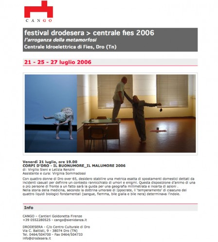 A simple newsletter design for Virgilio Sieni Dance Company