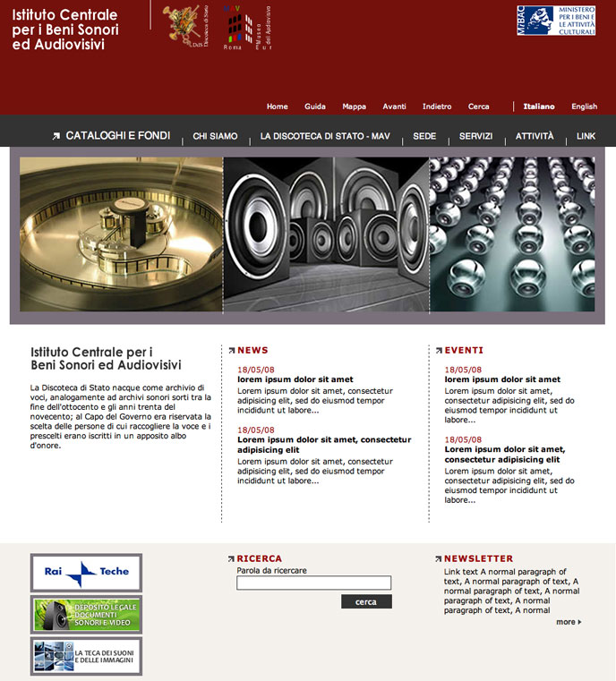2008 - Xhtml and Css service for Discoteca di Stato