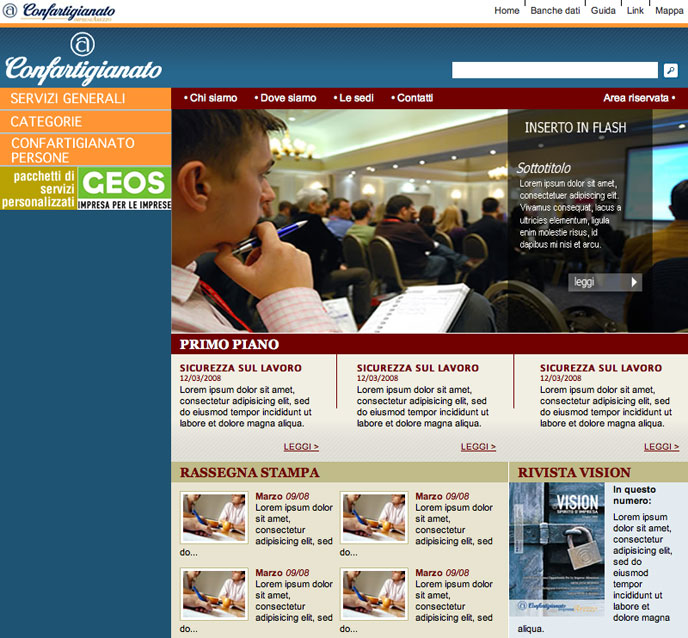 2008 - XHTML and CSS service for Confartigianato site.