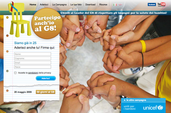 2009 - Xhtml and Css framework for this Unicef Italia Campaigns site