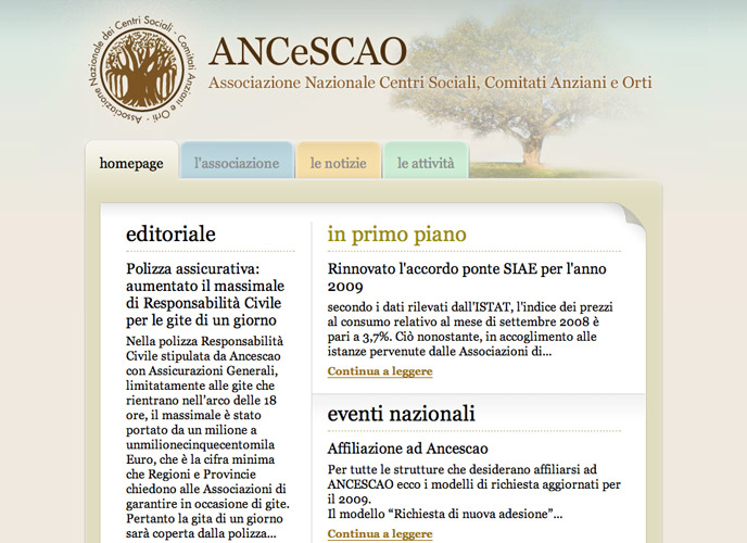 2007 - Front-end development for Ancescao website
