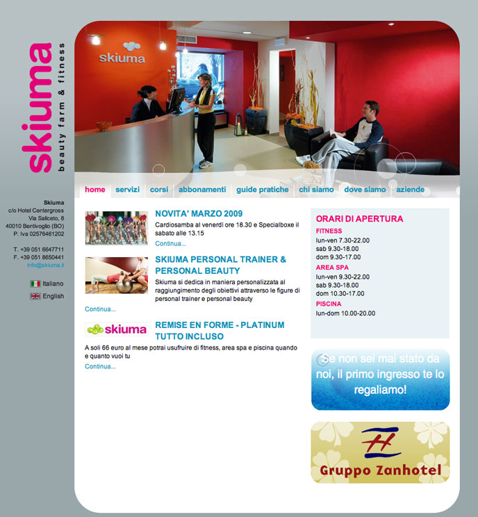 Beauty center and obviously beauty Css and Xhtml code for Skiuma site